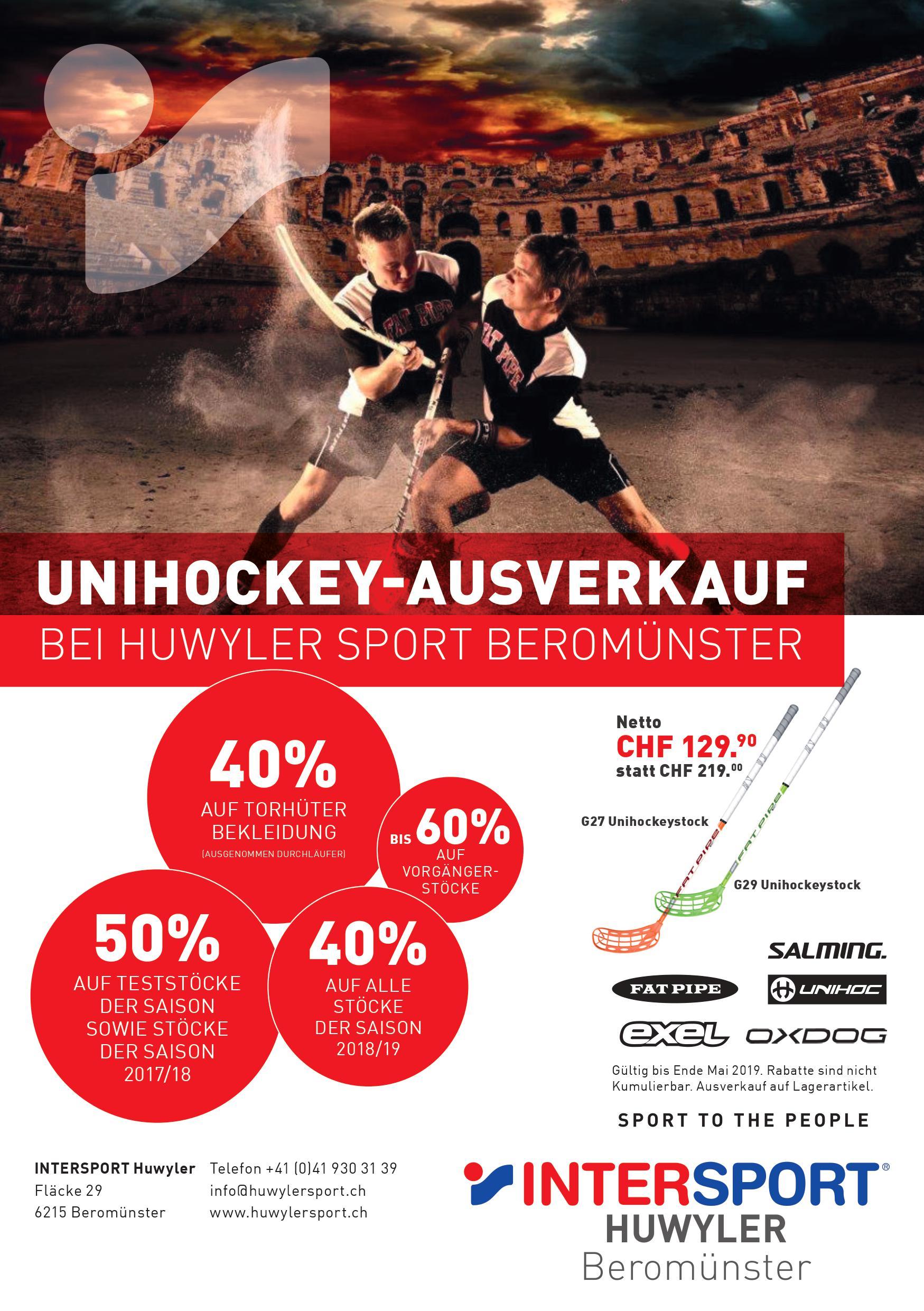 Unihockey-Ausverkauf mit bis 50% Rabatt