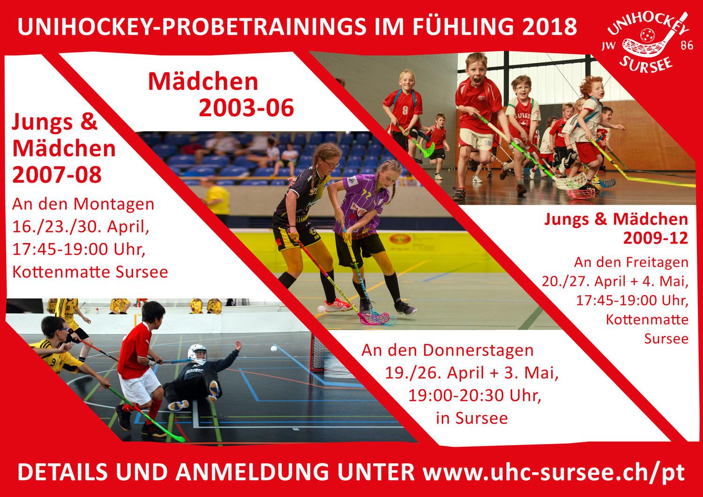 Unihockey-Probetrainings 2018